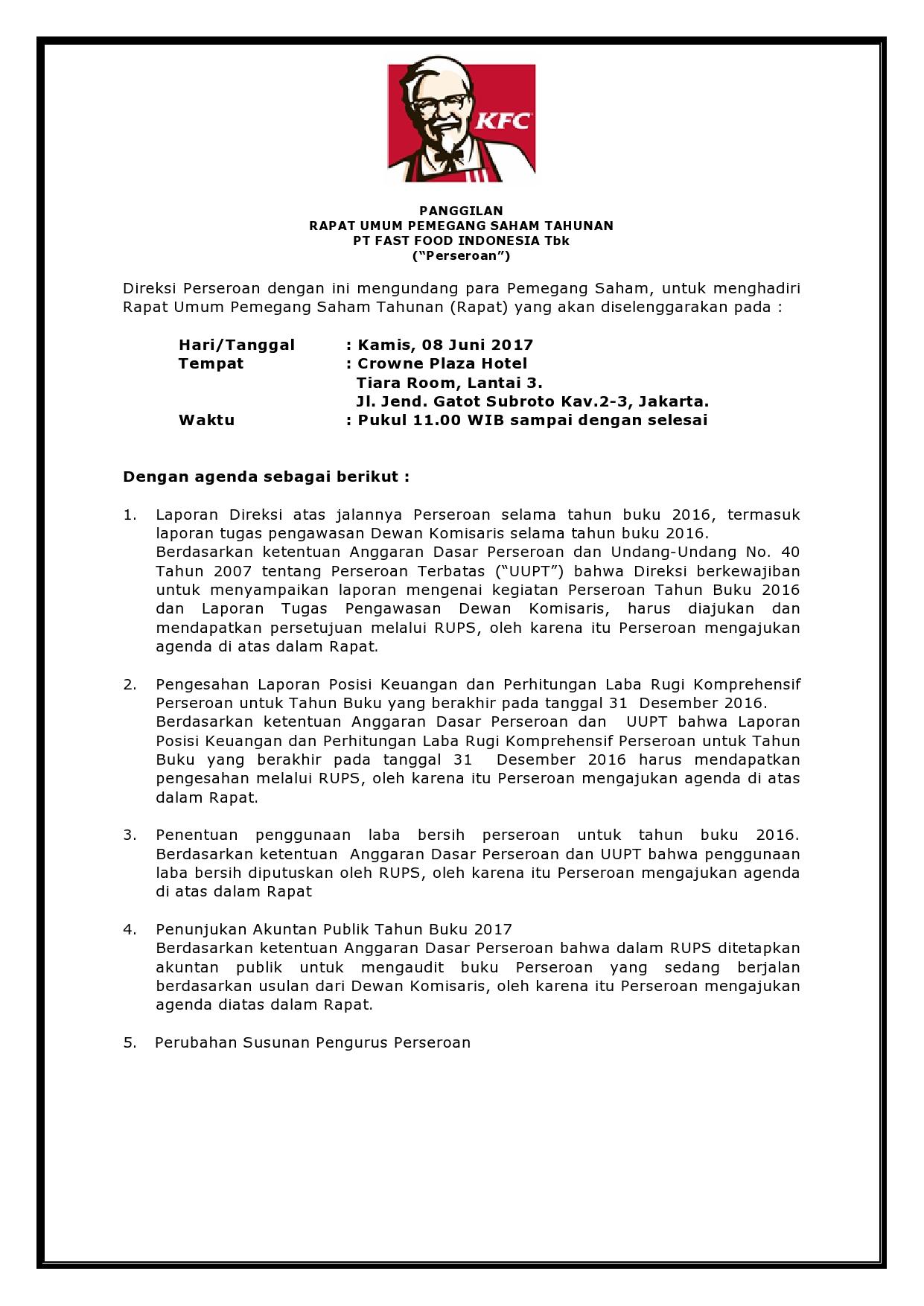 Pt Fast Food Indonesia Tbk Saham